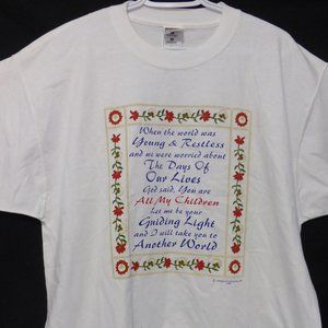 FRUIT OF THE LOOM, xl, white tee with print design